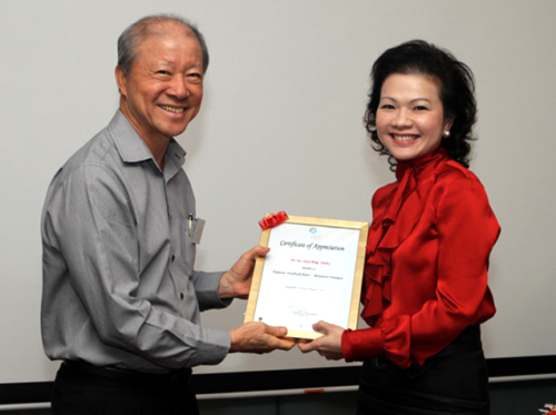 Taxpayer Feedback Panel (2010 to 2012) – Received a certificate of appreciation from Commissioner of Inland Revenue Mr Moses Lee